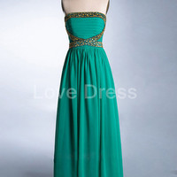 Green Ruched Strapless Long Prom Dress with Sequins