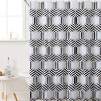 """Royal Bath Honeycomb Highway PEVA Non-Toxic Shower Curtain - 72"""" x 72""""with 12 Matching Roller Hooks"""