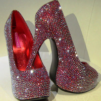Swarovski Crystal High Heels - Red Crystal Stilettos - Red Platform Heels - Red Shoes - Crystal Shoes - Special Occasion Shoes