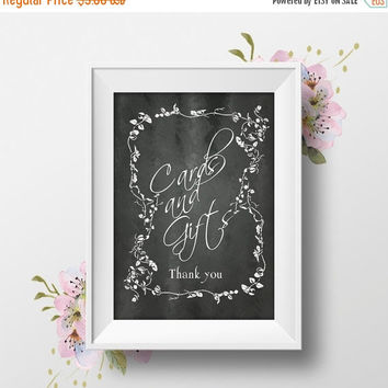 """Printable Wedding Sign """"Cards & Gifts"""" 8x10, Chalkboard, Rustic Country, Instant Download, DIY Wedding Table Signs"""