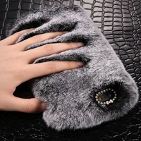 2018 Fashion Rabbit Fur PC Phone Cases for iphone 8 7 6 6S plus 8Plus Deluxe Plush Furry Cover For iPhone X 5 5S SE case Luxury