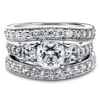 Sterling Silver Cushion CZ 3-Stone Ring Set 3.24 CTWBe the first to write a reviewSKU# vr314-02