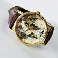 The World in Full Bloom Map Floral Watch, Vintage Style Leather Watch, Women Watches,Mens Watch, Boyfriend Watch, World Map,