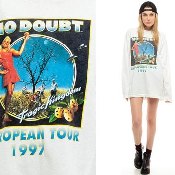 No Doubt Shirt 90s Band Tee Concert Tshirt European Tragic Kingdom Tour T Shirt Vintage 1990s Gwen Stefani Ska Punk Rock White Medium Large
