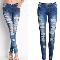 Sexy Women Blue Casual Stretch Ripped Skinny Pencil Pants Jeans XS-2XL [8270431873]