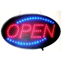 Open LED Sign With Animation and Power (On & off) two Switchs for Business (Red & Blue Neon Lights)