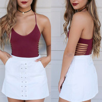 Perfect Illusion Burgundy Shredded Side Cut out Tank Body Suit