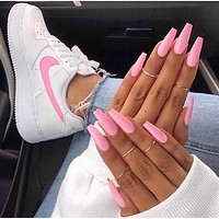 Inseva Nike Air Force 1 Fashionable Women Casual Running Sport Shoes Sneakers White(Pink Hook)