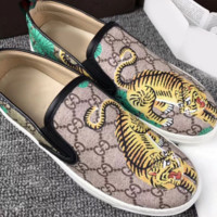 Gucci Fashion Trending Casual Flowers Design Loafer Shoes Flat Shoes Tiger G