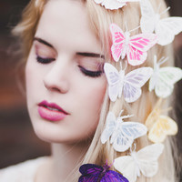 Glitter Pastel Feather Butterfly Hair Clip, Butterfly Clip, Butterfly Hair Clips- IN 9 COLOURS