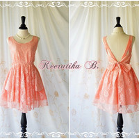 A Party Dress - V Shape Peach Lace Pink Lined Bridesmaid Dress Lace Prom Dress Backless Cocktail Dress Homecoming Dress Night Dress Small