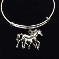Mother and Baby Horse Charm Bracelet Expandable Adjustable Silver Wire Bangle Trendy Handmade Unique Fun Gift