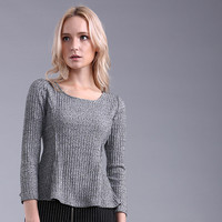 Long Sleeve Ribbed Knit Peplum Blouse with Slit Details
