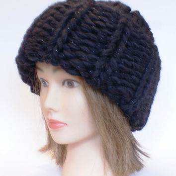 Russian style handknitted Black hat Victoria Beckham super chunky oversized hats women knitted irish slouch