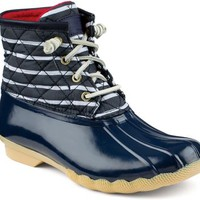Sperry Top-Sider Saltwater Duck Boot Navy/Stripe, Size 11M  Women's Shoes