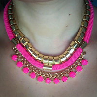 PinkSquares detail Statement Necklace