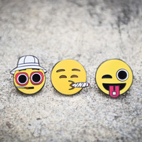 Hunter S Thompson Flushed Emoji, LSD Emoji Winky Eyed, & Smoking Emoji – Hat Pins