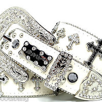 BHW CoWgiRL WeStErN BLaCk AB ITaLiAn CrOsS  RhInEsToNe CoNcHo LeAtHeR BeLt