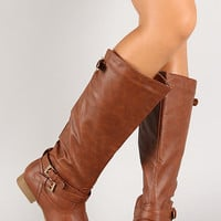 Tan Thin Straps Almond Toe Mid Calf Ridding Boots