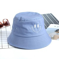 Cute Embroidery Smile Face Bucket Hat For Women Men Flat Fishing Hats Sun Summer Caps Cotton Fisherman Hat Chapeau Homme Ete