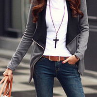 Turn-Down Collar Long Sleeve Zippered Coat