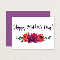 Painted Flowers Printable A2 Mother's Day Card / Card for Mom
