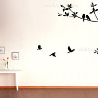 Tree Wall Decals Birds Forest Nature Wall Decals For Children Baby Girl 40158