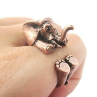 3D Realistic Baby Elephant Animal Wrap Around Ring in Copper | US Sizes 5 to 8.5