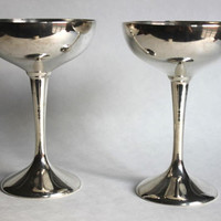 International Silver Champagne Goblet Chalice, Set of 2, Vintage Silver-Plated Wine Stemware Goblets