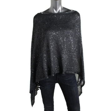 Alfani Womens Knit Sequined Poncho Top