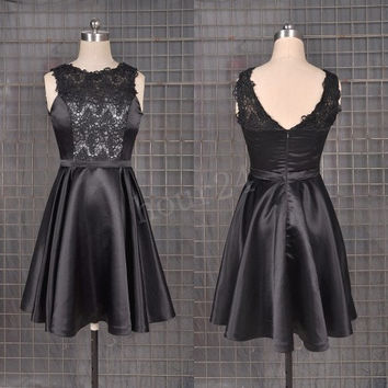 Black Satin Lace Short Prom Dresses, Fashion Prom Dress,Party Dresses, Evening Dresses, Wedding Party Dresses,Cocktail Dresses