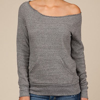 Grey Off the Shoulder Sweatshirt