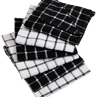 "DII 100% Cotton, Machine Washable, Basic Everyday Kitchen Dish Cloth, Windowpane Design, 12 x 12"" Set of 6- Black"