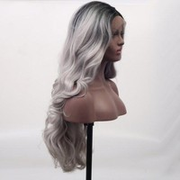 Black Gray Wavy Darkroot Ombre Lace Front Wig