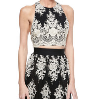 Tru Embroidered Sleeveless Crop Top & Brent Embroidered Maxi Skirt