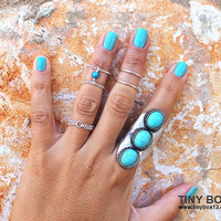 Tiny Turquoise Knuckle Ring - Sterling Silver Ring - Delicate Turquoise Double Ring Chain by Tiny Box 12