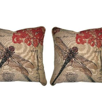 """DaDa Bedding Set of Two Dragonfly Dreams Throw Pillow Covers W/ Inserts - 18"""" - 2-Pcs"""