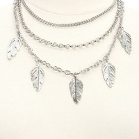 Three-Tiered Feather & Chain Bib Necklace