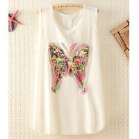Colorfull Sequins Butterfly Sleeveless Chiffon T-shirts
