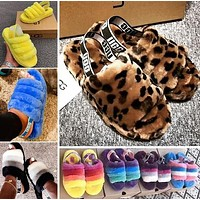 UGG High Quality Classic Women Multicolor Fur Flats Sandals Slippers Shoes