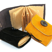 Tiny Trio of Leather Journals with Vintage by Thenibandquill