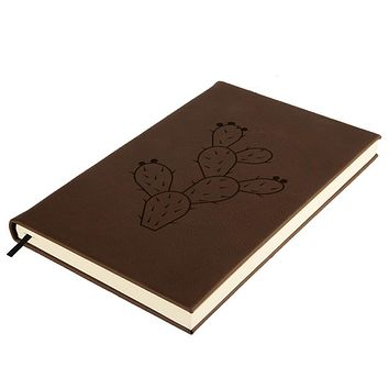 Cinco de Mayo Prickly Pear Cactus Brown Leatherette Journal