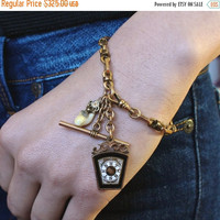 Antique Fob Charm Bracelet, Victorian Watch Chain, Masonic Keystone Royal Arch Mark Master, Elks Tooth, Fraternal Society, One of a Kind