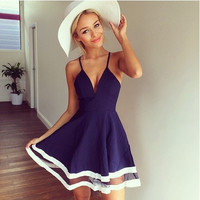 Women Sleeveless Strap Summer Dress 2015 New Solid Color Causal Pleated Dress Gauze Patchwork Preppy Style Cute Dresses Vestidos