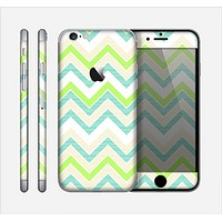 The Vibrant Green Vintage Chevron Pattern Skin for the Apple iPhone 6