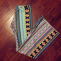 Bell Bottoms Aztec Tribal Ethnic Long Stretch Pants by Roupoli