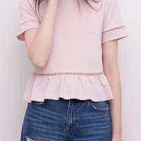 Lace Accent Short Sleeve Ruffled Bottom Blouse