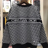 Dior new embroidered letters full of jacquard LOGO men and women all-match casual round neck long sleeve knitted sweater