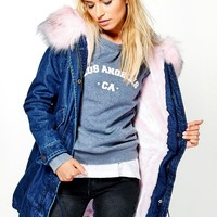 Erin Boutique Denim Faux Fur Parka