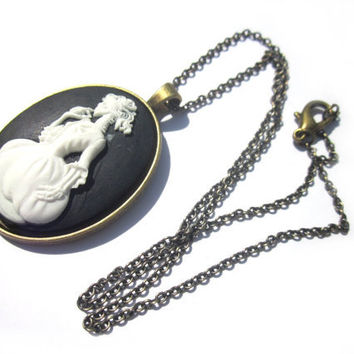 Antique Brass Lady Skull Cameo Necklace Skeleton Dress Cameo Black White Cabochon Death Maiden Gothic